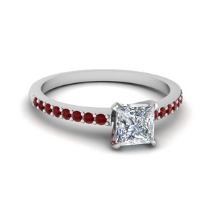 Princess Cut Ruby Delicate Ring