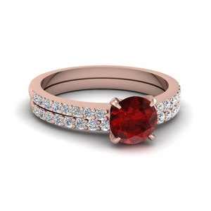 Delicate Ruby Stone Wedding Set