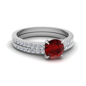 Delicate Ruby Wedding Ring Set