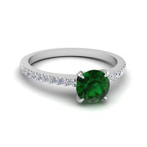 Delicate Emerald Engagement Ring
