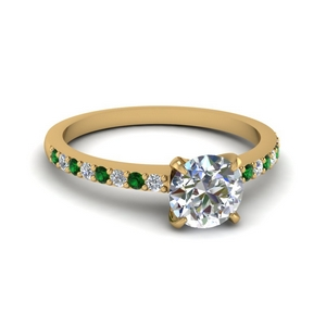 delicate round cut diamond petite engagement ring with emerald in FD1026RORGEMGR NL YG.jpg