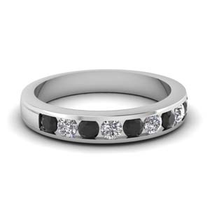 round channel wedding band with black diamond in FD1028BGBLACK NL WG