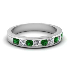 round diamond channel wedding band with emerald in FD1028BGEMGR NL WG