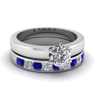 6 prong solitaire engagement ring with diamond and sapphire band in FD1028ROGSABL NL WG