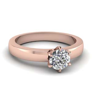 round cut diamond engagement ring in 14K rose gold FD1028ROR NL RG