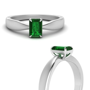 Tapered Emerald Solitaire Ring