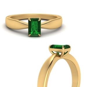 Tapered Solitaire Ring With Emerald
