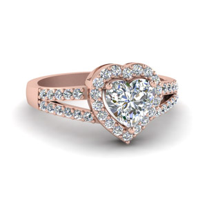 Rose Gold Heart Halo Diamond Ring