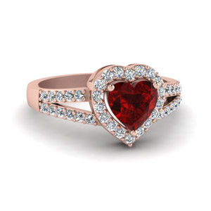 Heart Halo Diamond Ring With Ruby