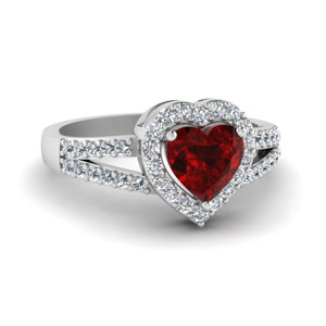 Ruby Heart Halo Engagement Ring