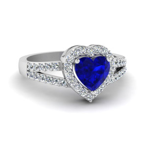 Heart Halo Ring With Sapphire