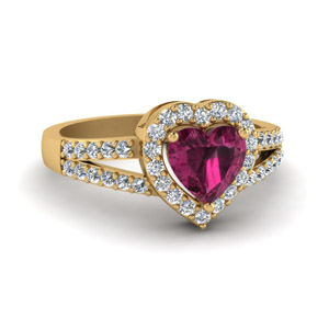 Diamond Rings with Pink Sapphire
