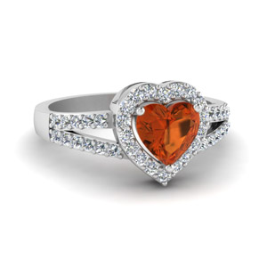 Heart Halo Ring With Orange Sapphire