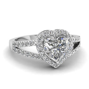 Split Shank Halo Diamond Ring