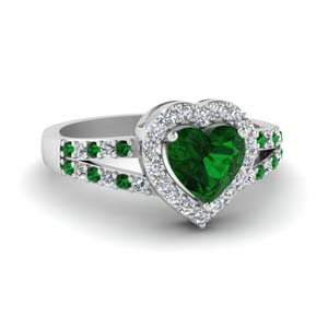 Heart Halo Ring With Emerald