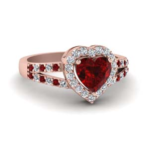 Ruby Ring With Heart Halo