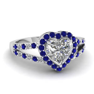 Sapphire Heart Halo Ring