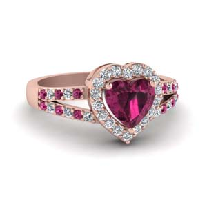 Pink Sapphire Ring With Heart Halo
