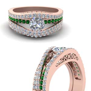 Crossover Wedding Ring Set