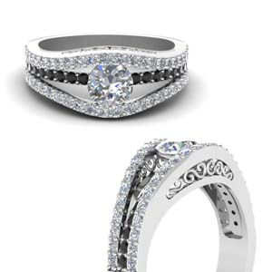 Tension Set Crossover Diamond Ring
