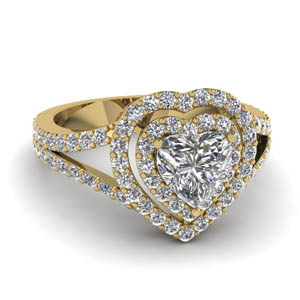 Heart Diamond Double Halo Ring