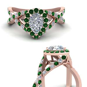 diamond pear entwine halo engagement ring with emerald in FD1046PERGEMGRANGLE3 NL RG.jpg