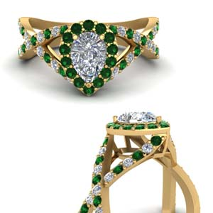 Pear Shaped Emerald Halo Ring