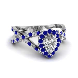 Pear Shaped Halo Sapphire Ring