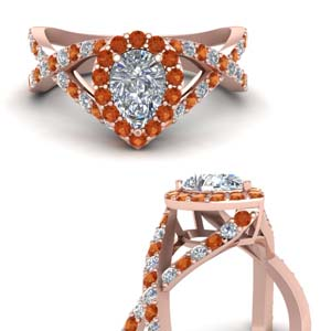 diamond pear entwine halo engagement ring with orange sapphire in FD1046PERGSAORANGLE3 NL RG.jpg