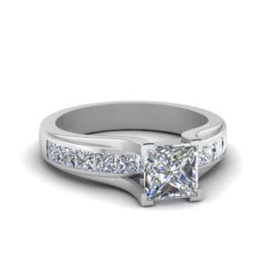 Princess Cut Moissanite Side Stone Ring