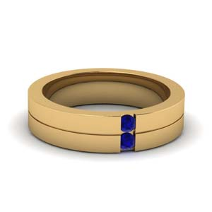 2 Stone Sapphire Male Wedding Band