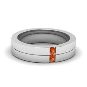 mens 2 stone wedding ring with orange sapphire in FD1052BGSAOR NL WG.jpg
