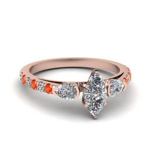 delicate 3 stone marquise diamond engagement ring with orange topaz in FD1059MQRGPOTO NL RG