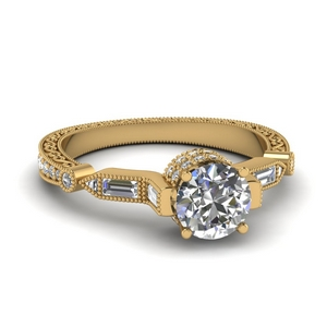 Baguette Filigree Diamond Ring