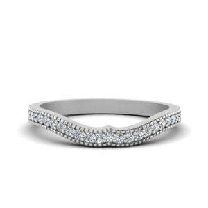 Pave Diamond Curved Wedding Band