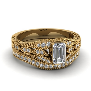 Filigree Diamond Wedding Ring Set