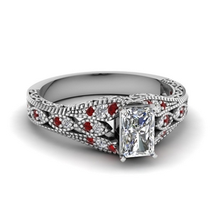 Radiant Cut Filigree Ring With Ruby
