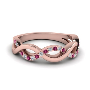 infinity diamond wedding band with pink sapphire in FD1079BGSADRPI NL RG