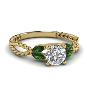 Emerald Leaf Style Ring