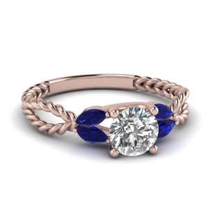 leaf vine diamond engagement ring with sapphire in FD1084RORGSABL Nl RG