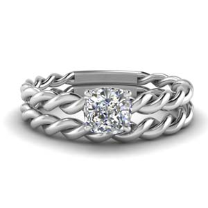 Twisted Cushion Solitaire Bridal Set