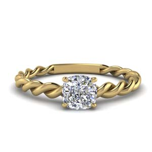 Cushion Cut Braided Solitaire Ring
