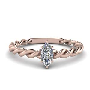 Marquise Cut Twisted Solitaire Ring