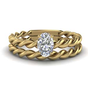 Twisted Oval Diamond Wedding Set