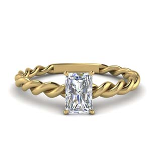 Twisted Radiant Cut Diamond Ring