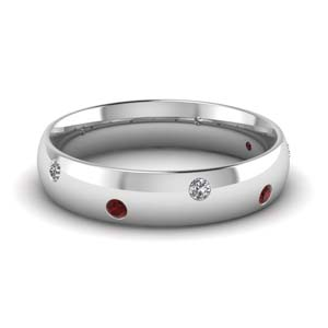 classic dome diamond comfort fit wedding ring for men with ruby in 14K white gold FD1092BGRUDR NL WG