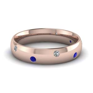 classic dome diamond comfort fit wedding ring for men with blue sapphire in 18K rose gold FD1092BGSABL NL RG