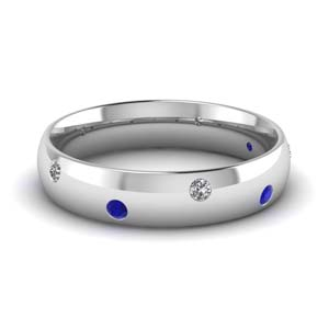 classic dome diamond comfort fit wedding ring for men with blue sapphire in 950 Platinum FD1092BGSABL NL WG