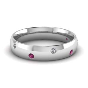 classic dome diamond comfort fit wedding ring for men with pink sapphire in 14K white gold FD1092BGSADRPI NL WG