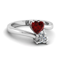 heart shaped diamond heart pair side stone ring with red ruby in 14K white gold FD1097HTRGRUDR NL WG